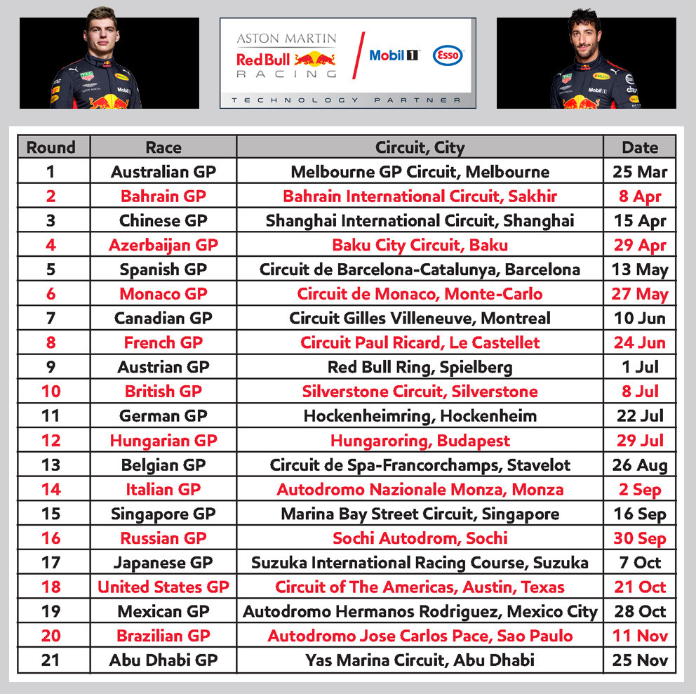 Formule 1 Kalender 2018 - Seizoen van Max Verstappen op 1 A4